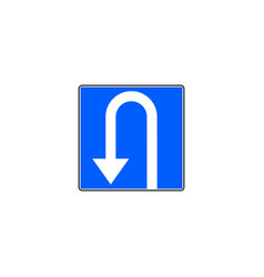 U turn road sign on blue background vector