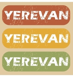 Vintage Yerevan stamp set vector image