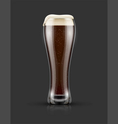 full glass of dark black beer vector image vector image
