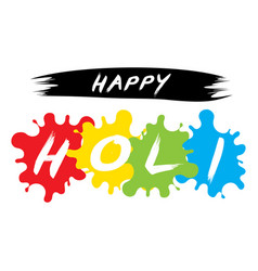 happy holi spring festival of colors design vector image