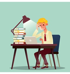 hard working business man with pile of work vector image