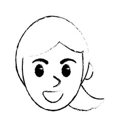 sketchy face woman comic design vector image