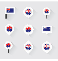 australia flag and pins for infographic and map vector image