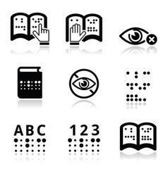 Blindness Braille writing system icon set vector image vector image