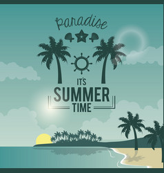 blue color poster seaside with logo text paradise vector image