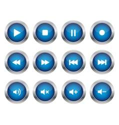 Blue multimedia buttons vector image