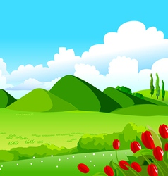 Blue Sky Green Fields and Distant Hills vector image vector image