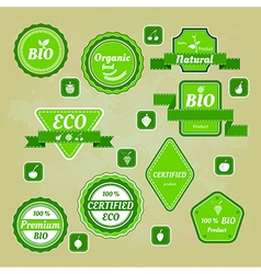 Collection of bio and eco organic labels natural vector image vector image