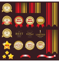 Gold label for present best of product vector image vector image