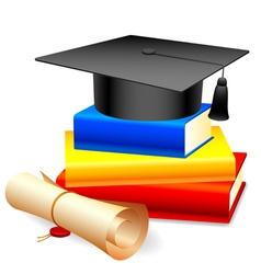 Graduation cap and books vector image