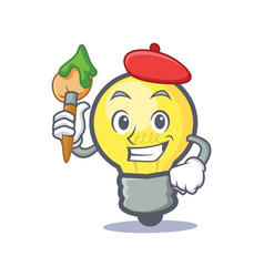 Artist light bulb character cartoon vector