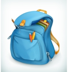 Blue school bag vector image vector image