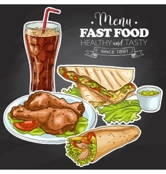 fast food menu on a black board vector image