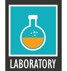 icon simple laboratory flask with liquid vector image