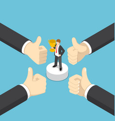 isometric businessman hands show thumb up finger vector image