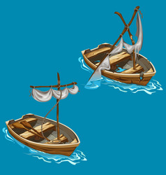 old boat with sailboat on water in cartoon style vector image vector image