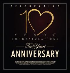10 years Anniversary black background vector image