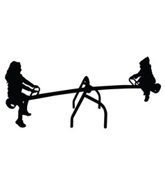 children silhouette on teeter in black color vector image vector image