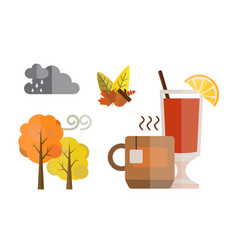 Collection of autumn set items the fall acorn vector