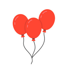 red balloon icon with rope vector image