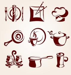 restaurant elements set vector image vector image