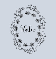 rustic emblem decoration with branches and flowers vector image vector image