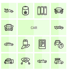 14 car icons vector image