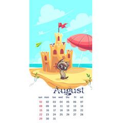 2021 calendar august funny cartoon cat image vector