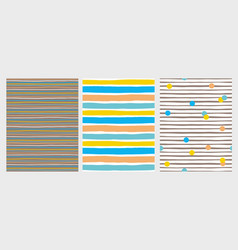 3 hand drawn irregular striped patterns vector image