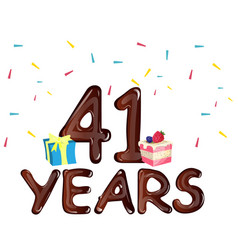 41 years anniversary celebration with gift box and vector image