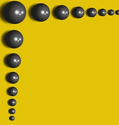 Abstract background 3D black spheres on the yellow vector