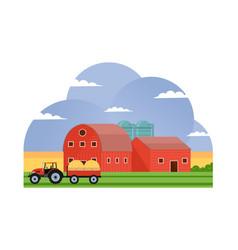 Agriculture and farming barn building field farml vector