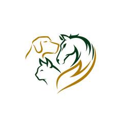 Animal pet care logo design template vector