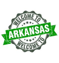 Arkansas round ribbon seal vector