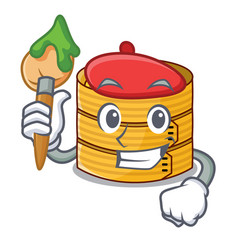 artist character steamed bamboo for food tool vector image