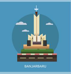 Banjarbaru city of indonesia conceptual design vector