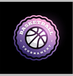 basketball league logo with ball purple and white vector image