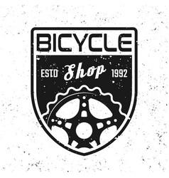 Bicycle shop shield emblem badge label vector
