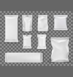 Blank vacuum packages food snacks void packets vector