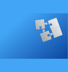 Blue background four puzzle jigsaw puzzle vector