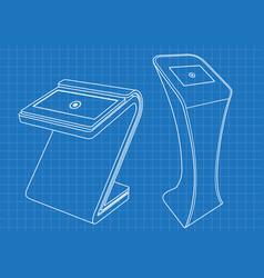 blueprint of two promotional information kiosk vector image