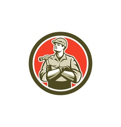 Builder Carpenter Arms Crossed Hammer Circle Retro vector