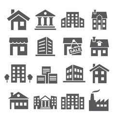 buildings and houses icons on white background vector image