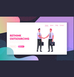 business meeting landing page template successful vector image