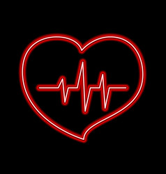 Cardiogram love and health line forming red vector