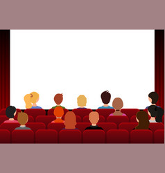 cartoon color characters people in movie theater vector image