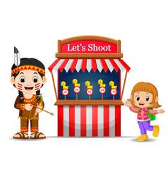 Cartoon girl using indian costume at the circus vector