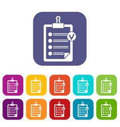 Check list icons set vector
