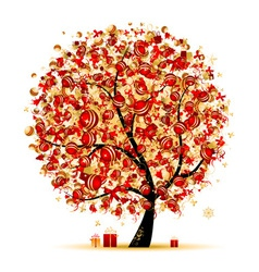 Christmas tree golden for your design vector image