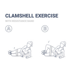 Clamshell with resistance band home workout sport vector